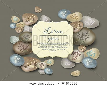 Template greeting card or invitation. Massage stones with flower