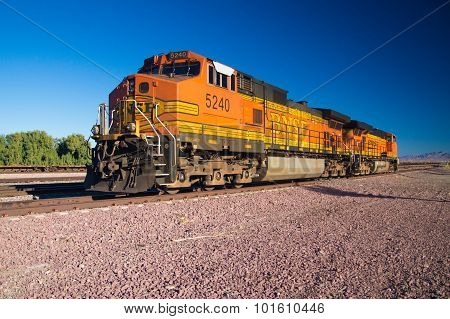 On The Rails A Stationary Bnsf Freight Train Locomotive No. 5240