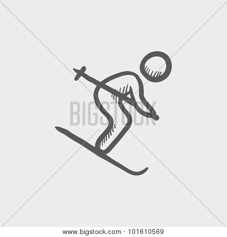 Downhill skiing sketch icon for web, mobile and infographics. Hand drawn vector dark grey icon isolated on light grey background.