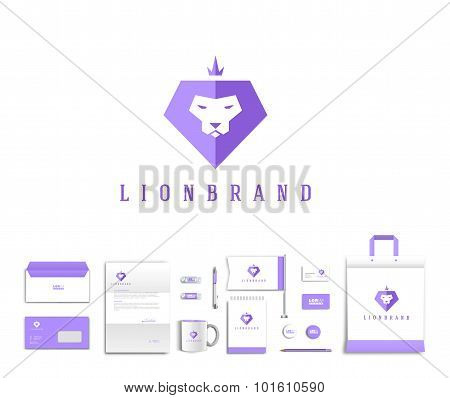Vector artistic corporate identity template with lion logo and colorful elements.