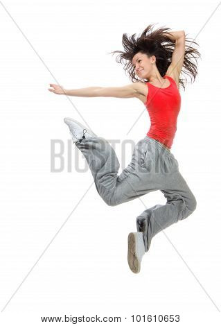 Modern Teenage Girl Dancer Jumping And Dancing Hip-hop In Red Tshirt