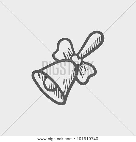School bell with ribbon sketch icon for web, mobile and infographics. Hand drawn vector dark grey icon isolated on light grey background.