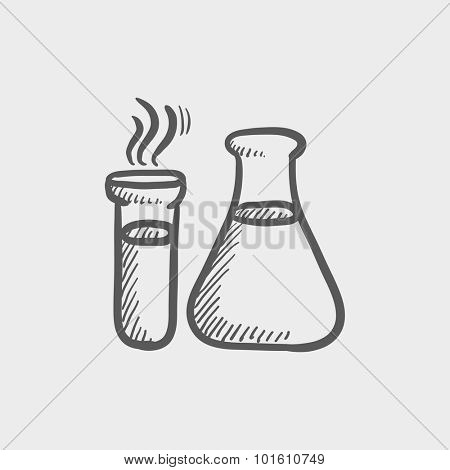 Llaboratory equipment sketch icon for web, mobile and infographics. Hand drawn vector dark grey icon isolated on light grey background.