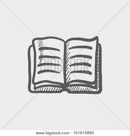 Open book sketch icon for web, mobile and infographics. Hand drawn vector dark grey icon isolated on light grey background.