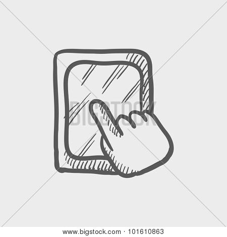 Touchscreen tablet sketch icon for web, mobile and infographics. Hand drawn vector dark grey icon isolated on light grey background.