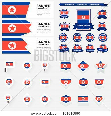 Korea North Independence Day, Infographic, And Label Set.