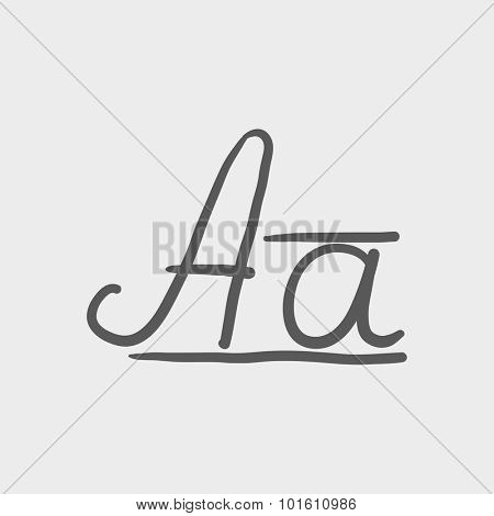 Cursive letter a sketch icon for web, mobile and infographics. Hand drawn vector dark grey icon isolated on light grey background.