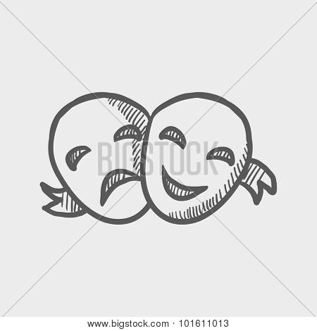 Two theatrical masks sketch icon for web, mobile and infographics. Hand drawn vector dark grey icon isolated on light grey background.