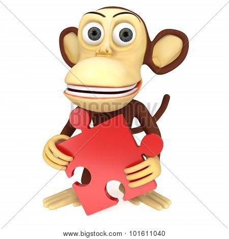 3D Funny Monkey With Red Puzzle
