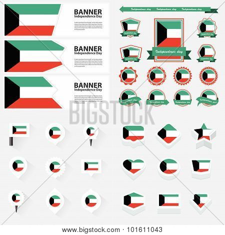Kuwait Independence Day, Infographic, And Label Set.