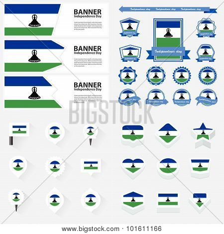 Lesotho Independence Day, Infographic, And Label Set.