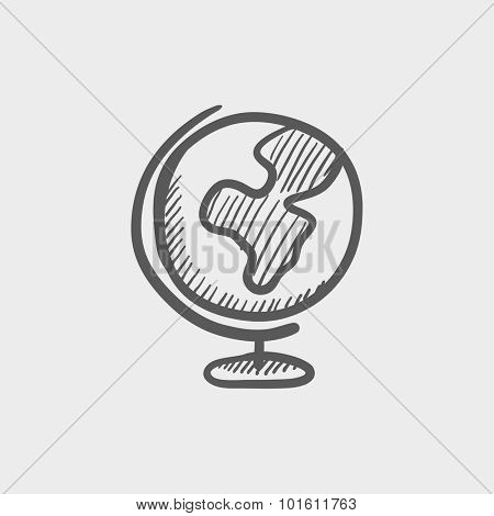World globe on stand sketch icon for web, mobile and infographics. Hand drawn vector dark grey icon isolated on light grey background.