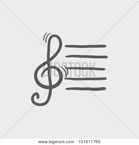 Treble clef sketch icon for web, mobile and infographics. Hand drawn vector dark grey icon isolated on light grey background.