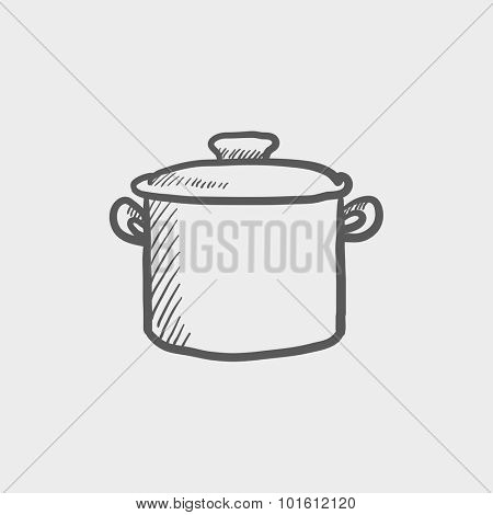 Saucepan sketch icon for web, mobile and infographics. Hand drawn vector dark grey icon isolated on light grey background.