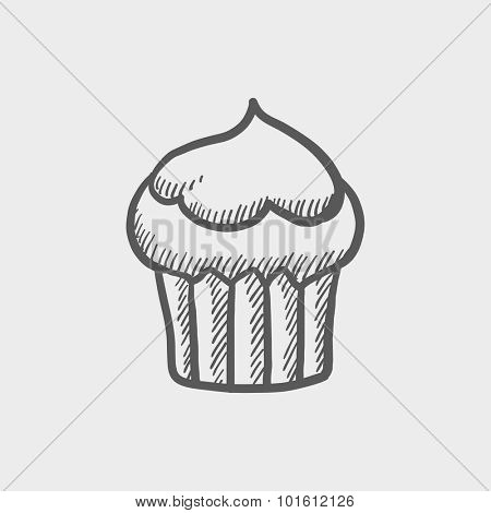 Cupcake sketch icon for web, mobile and infographics. Hand drawn vector dark grey icon isolated on light grey background.
