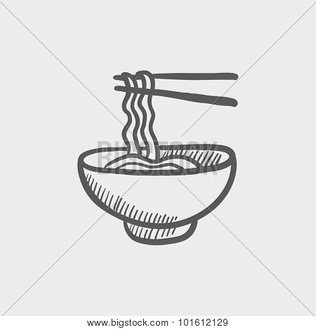 Bowl of noodles with a pair of chopsticks sketch icon for web, mobile and infographics. Hand drawn vector dark grey icon isolated on light grey background.