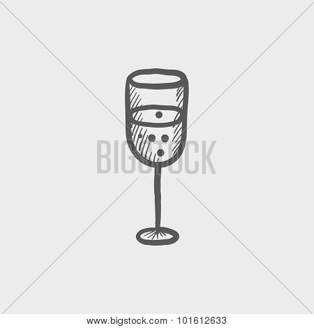 Glass of champagne sketch icon for web, mobile and infographics. Hand drawn vector dark grey icon isolated on light grey background.