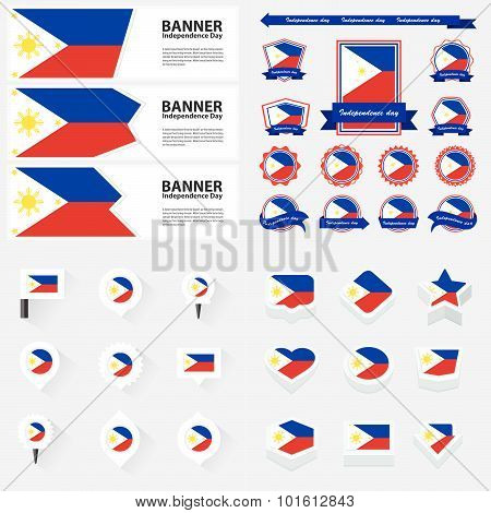 Philippines Independence Day, Infographic, And Label Set.