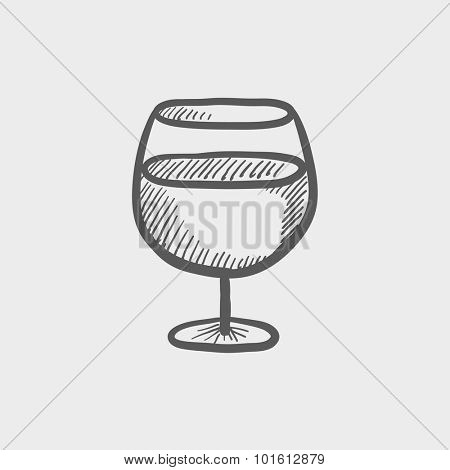 Glass of wine sketch icon for web, mobile and infographics. Hand drawn vector dark grey icon isolated on light grey background.