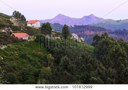 marvelous purple mountain peaks at Peneda-Geres National Park in northern Portugal.