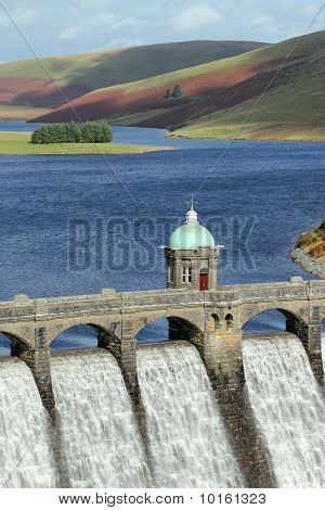 Craig Goch Reservoir Dam Close Up, Elan Valley, Wales.