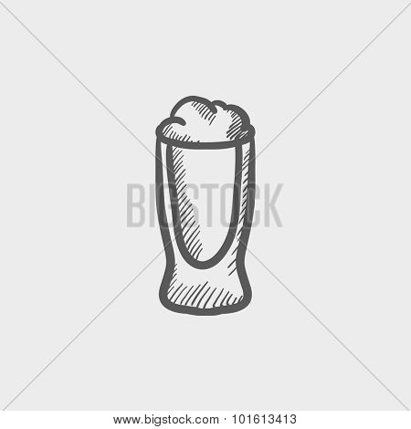 Glass of beer sketch icon for web, mobile and infographics. Hand drawn vector dark grey icon isolated on light grey background.