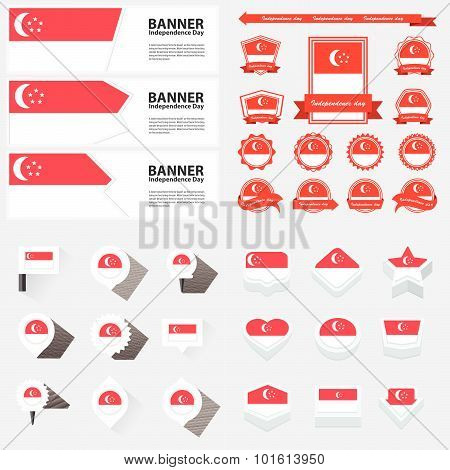 Singapore Independence Day, Infographic, And Label Set.