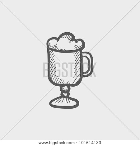 Glass mug with foam sketch icon for web, mobile and infographics. Hand drawn vector dark grey icon isolated on light grey background.