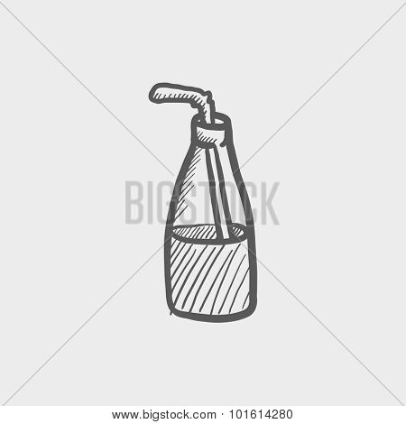 Glass bottle with drinking straw sketch icon for web, mobile and infographics. Hand drawn vector dark grey icon isolated on light grey background.
