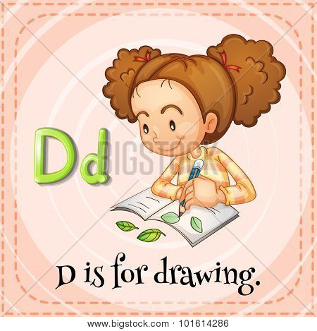 Flashcard letter D is for drawing illustration