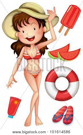 Girl in bikini with summer set illustration