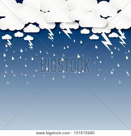 Cloud And Rain, Thunderbolt, Background Vector