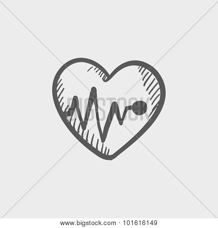 Heart with cardiogram sketch icon for web, mobile and infographics. Hand drawn vector dark grey icon isolated on light grey background.
