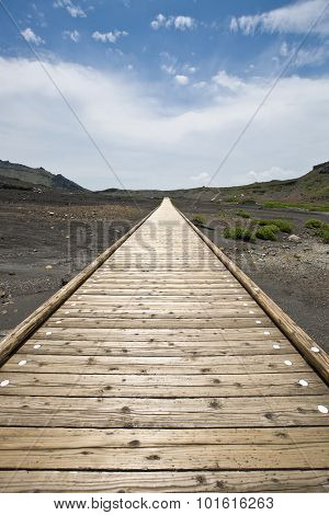 Wooden footpath