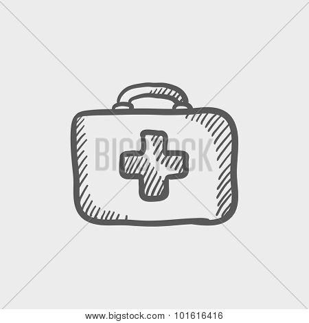 First aid kit sketch icon for web, mobile and infographics. Hand drawn vector dark grey icon isolated on light grey background.