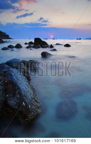 Reef And Seacoast At At Lipe Island Beach Of The Andaman Sea, In Satun Province Of Thailand