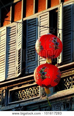 Sino-portuguese Architecture Of Ancient Building With Red Chinese Lanterns In Phuket Town, Thailand