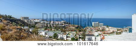 High Angle Panorama Of Los Gigantes On Tenerife Island, Canary.