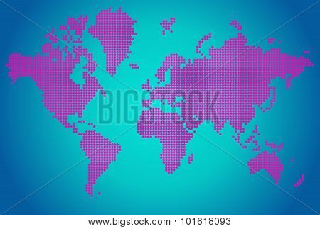 World map of pink flower dots