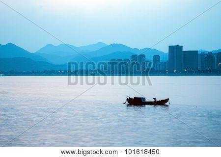 River fishing boat