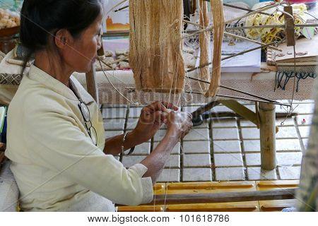 Woman Spinning Thailand Traditional Yarn Thread