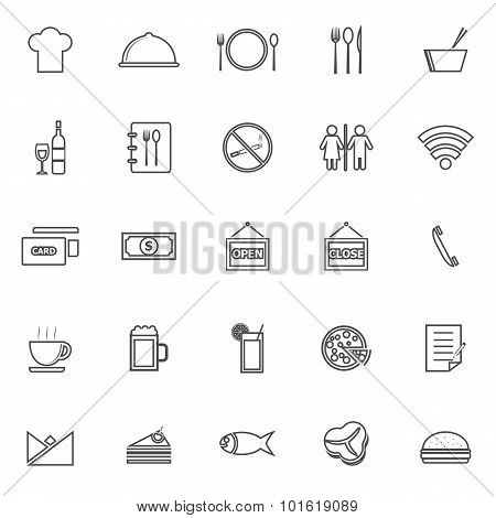 Restaurant Line Icons On White Background