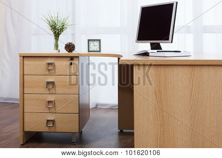 computer on desk in a modern office