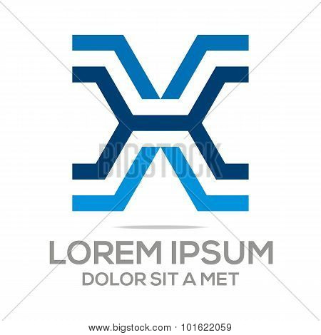 Logo x lettermark abstract business vector
