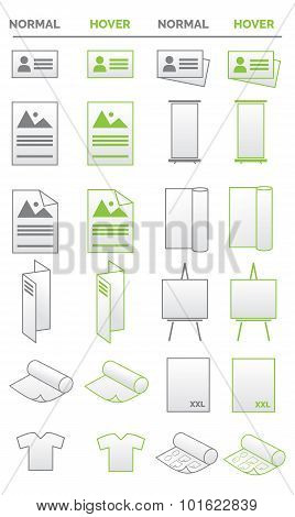 Collection of icons - media, promotion, business and print related