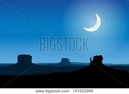 Arizona Rocks Valley At Night