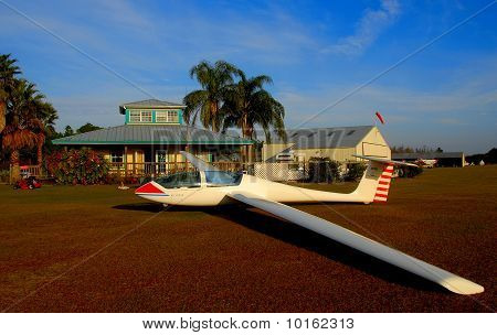 sailplane on grass
