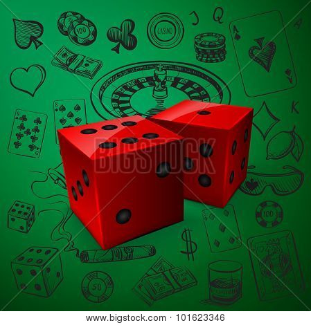 Hand drawn Casino icons set with dice game and with a hand of aces playing cards, dice, roulette board, casino chips or tokens and lucky number 777