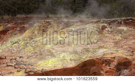 Steam Rising From Vents In Hawaii Volcanoes National Park