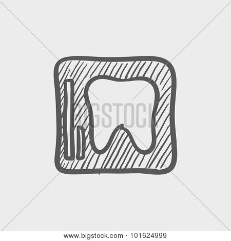 X-ray of the tooth sketch icon for web, mobile and infographics. Hand drawn vector dark grey icon isolated on light grey background.